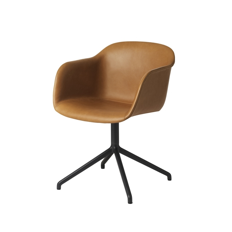 Petit Fauteuil Muuto FIBER ARMCHAIR pied central coque cuir