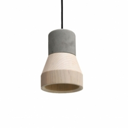 Suspension CEMENT WOOD LAMP Beech SPECIMEN