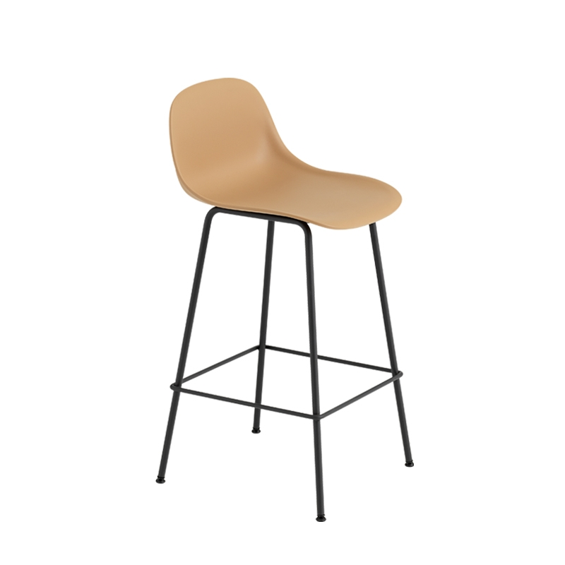 fiber bar stool avec dossier pieds acier h65 tabouret haut muuto. Black Bedroom Furniture Sets. Home Design Ideas