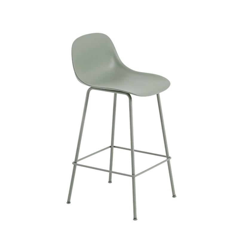 fiber bar stool avec dossier pieds acier h65 tabouret haut muuto. Black Bedroom Furniture Sets. Home Design Ideas