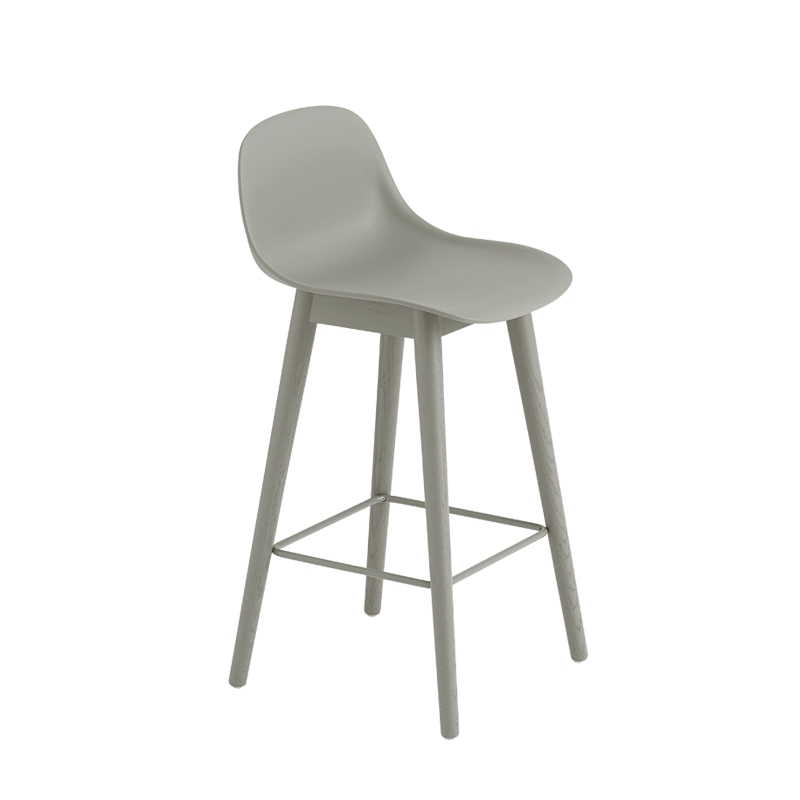 fiber bar stool avec dossier pieds bois h65 tabouret haut muuto. Black Bedroom Furniture Sets. Home Design Ideas