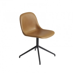 Chaise FIBER CHAIR pied central coque cuir MUUTO
