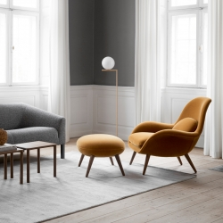 Fauteuil Fredericia SWOON CHAIR & OTTOMAN